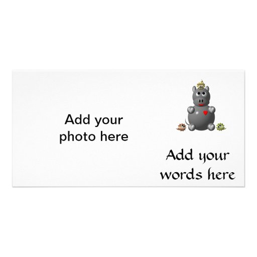 Cute Hippo with Hamsters Personalized Photo Card