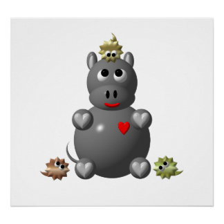 Cute Hippo with Hamsters! Posters