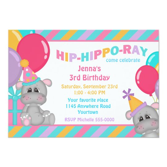 Cute Hippo with Present Birthday Card