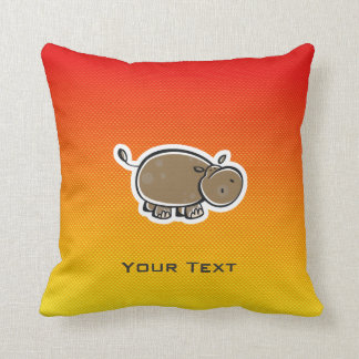 Cute Hippo; Yellow Orange Cushion