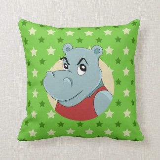 Cute hippopotamus cartoon cushion