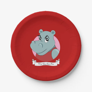 Cute hippopotamus cartoon paper plate
