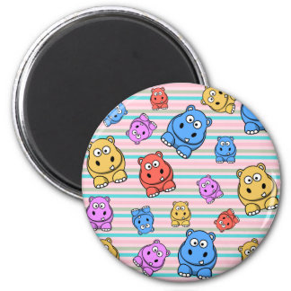 Cute Hippos Colorful Zoo Animal Theme for Children Magnet