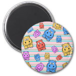 Cute Hippos Colourful Zoo Animal Theme for 6 Cm Round Magnet