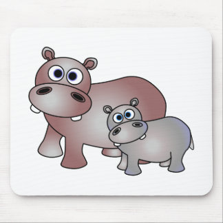 Cute Hippos Mom and Baby Mouse Mat