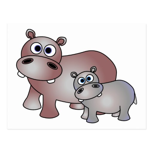 Cute Hippos Mom and Baby Post Cards