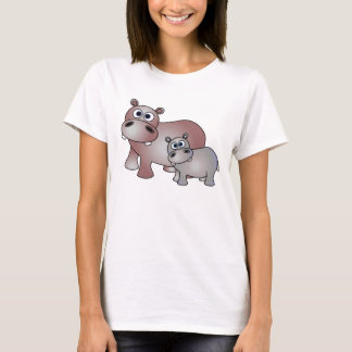 Cute Hippos Mom and Baby T-Shirt