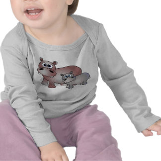 Cute Hippos Mom and Baby Tee Shirt