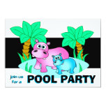 Cute Hippos Pool Party Invitation