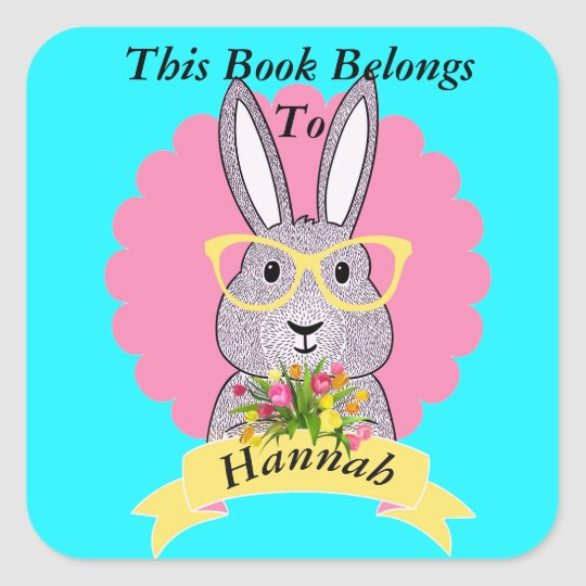 Cute Hipster Bunny with Glasses Book Plate Square