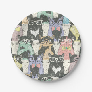 Cute Hipster Cats Pattern 7 Inch Paper Plate