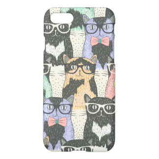 Cute Hipster Cats Pattern iPhone 7 Case