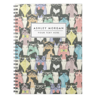 Cute Hipster Cats Pattern Notebooks