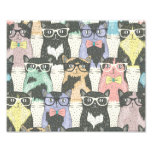 Cute Hipster Cats Pattern Photograph