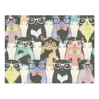 Cute Hipster Cats Pattern Postcard