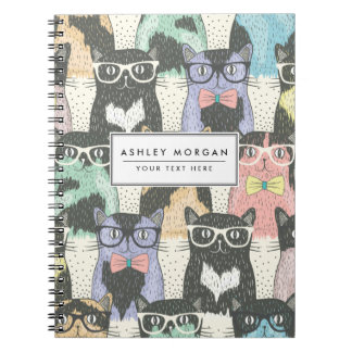 Cute Hipster Cats Pattern Spiral Notebook