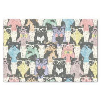 Cute Hipster Cats Pattern Tissue Paper
