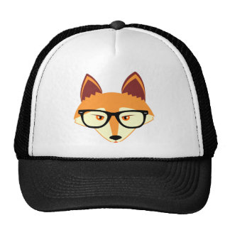 Cute Hipster Fox with Glasses Cap
