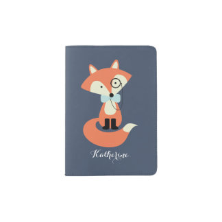 Cute Hipster Fox with Monocle and Bow Tie Passport Holder