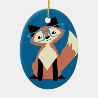 Cute Hipster Glasses Fox Christmas Ornament