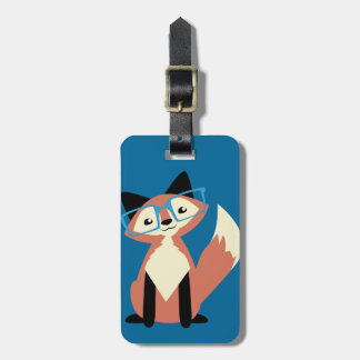 Cute Hipster Glasses Fox Luggage Tag