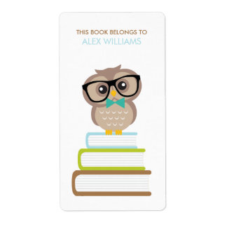 Cute Hipster Owl Bookplate