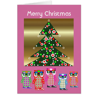 Cute Hipster Owl Christmas Cards Happy Holidays