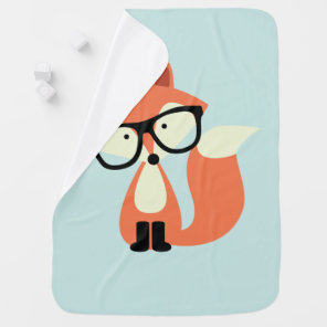 Cute Hipster Red Fox Baby Blanket