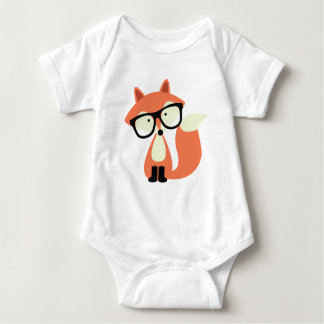Cute Hipster Red Fox Baby Bodysuit
