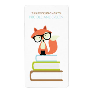 Cute Hipster Red Fox Bookplate