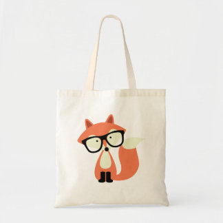 Cute Hipster Red Fox Budget Tote Bag