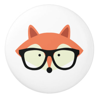 Cute Hipster Red Fox Ceramic Knob