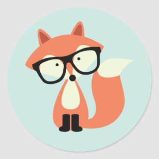Cute Hipster Red Fox Classic Round Sticker