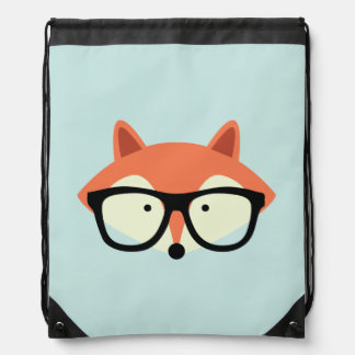 Cute Hipster Red Fox Drawstring Bag