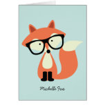 Cute Hipster Red Fox Folded Thank You Notes Note Card