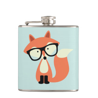 Cute Hipster Red Fox Hip Flask