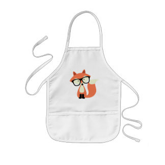 Cute Hipster Red Fox Kids Apron