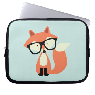 Cute Hipster Red Fox Laptop Sleeve
