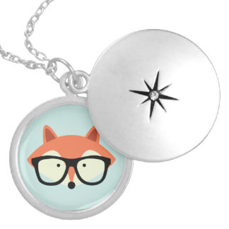 Cute Hipster Red Fox Locket Necklace