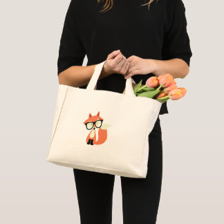 Cute Hipster Red Fox Mini Tote Bag