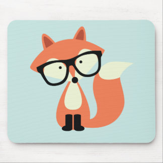 Cute Hipster Red Fox Mouse Mat