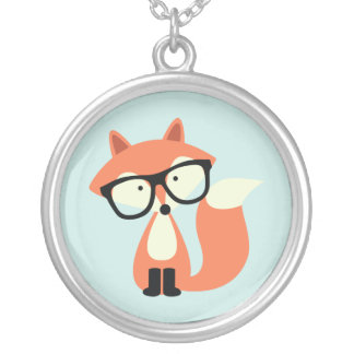 Cute Hipster Red Fox Silver Plated Necklace