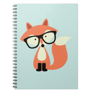Cute Hipster Red Fox Spiral Notebooks