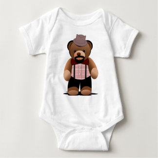 Cute Hipster Teddy Bear With Beard Baby Bodysuit