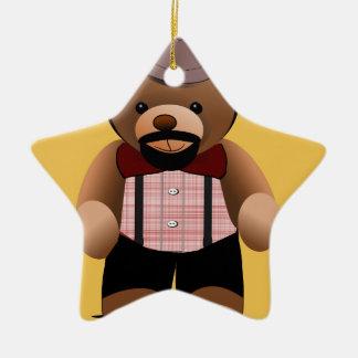 Cute Hipster Teddy Bear With Beard Christmas Ornament