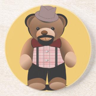Cute Hipster Teddy Bear With Beard Coaster