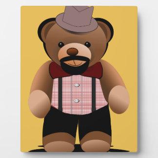 Cute Hipster Teddy Bear With Beard Plaque