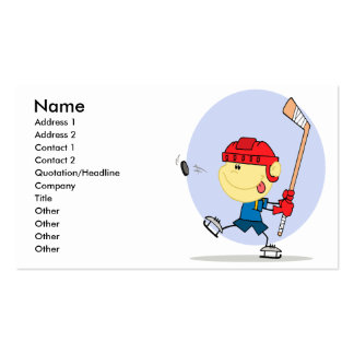 cute hockey kid cartoon business card templates