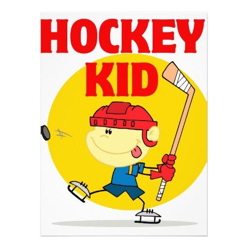 cute hockey kid cartoon character invite