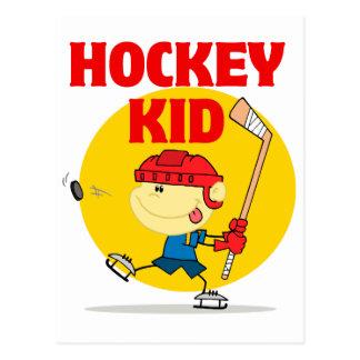 cute hockey kid cartoon character postcard